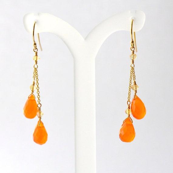 14K Gold. Carnelian Earrings, Carnelian Gold earrings, Orange stone Earrings, November Birthstone Gift, Gift For Her,