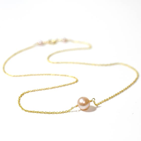 14K Gold. Pink Pearl Necklace • Pink Pearl gold Necklace • Delicate, Everyday Necklace • June Birthstone