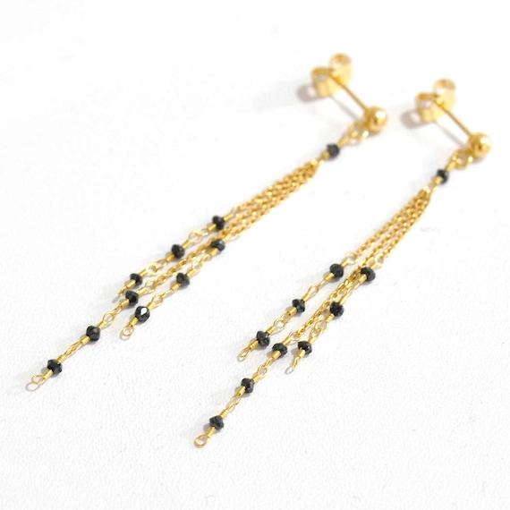 18K Gold. Black Diamond Earrings in 18K Yellow Gold , Delicate Diamond Earrings, Delicate Gold Earrings, Black stone, April Birthstone
