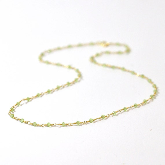 14K Gold. Peridot Necklace, Tiny peridot gold necklace, August Birthstone, Delicate Gold Necklace, Peridot Necklace