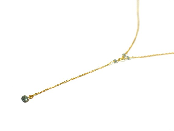 18K Gold. Green Sapphire necklace, Green Sapphire Gold Necklace, September Birthstone Jewelry, 18K Yellow Gold, Y Necklace, Lariat Necklace