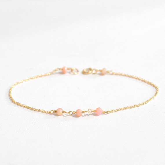14K Gold. Tiny Pink Opal bracelet, Delicate gold bracelet, Pink Opal gold bracelet, October Birthstone Jewelry, Pastel Pink stone jewelry