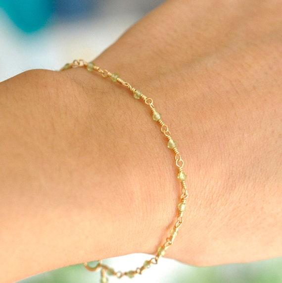 14K Gold. Peridot bracelet, Green stone gold bracelet, August Birthstone Jewelry, Peridot Bracelet