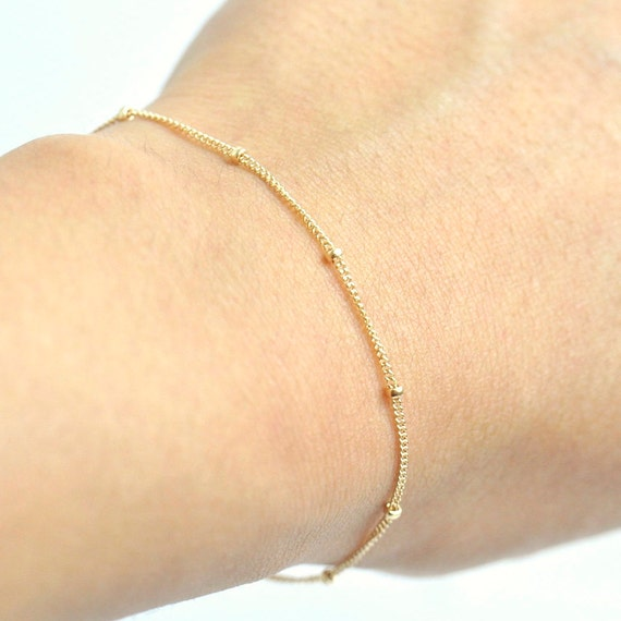 14K Yellow Gold. Delicate Gold Bracelet, Thin and feminine, Minimum Jewelry, Gold Dot Chain, everyday jewelry, Minimalist Chain Bracelet