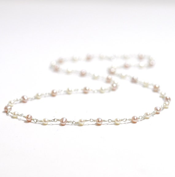 Pink and White Freshwater Pearl Necklace in Silver Or Gold, June Birthstone Necklace, Bridesmaid Gift, Weddings, Pink Pearl beaded Necklace