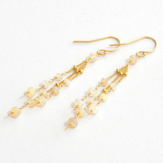 14K Gold. Ethiopian Opal Earrings in 14K Yellow Gold