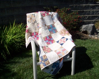 Churn Dash Quilt, Vintage pieced top, recently quilted.  75 inches by 63 inches wide
