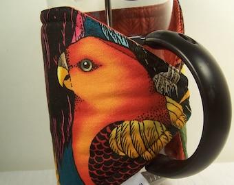 French Press Cozie.  Vivid birds, Insulated Coffee Pot Cozy, Bodum 8 Cup Press,  Pot Cosy