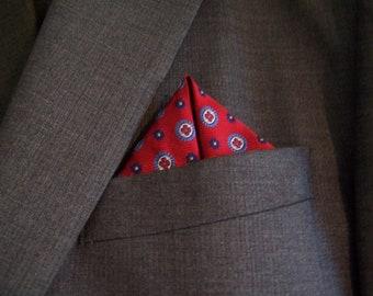 Red Silk Pocket Square, Red and Blue Silk, Silk handkerchief, formal ware Mens, silk square