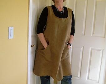 Pinafore Apron, Cross back Linen Apron, Flowing Full Womens Apron, Teacher Cover-Up, Artist Smock, Gardening Apron