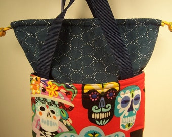 Drawstring lunch bag,Day of the Dead.  Cosmetic case, insulated lunchbox, fabric Lunch cooler, Insulated Lunch Sack, Make up Kit