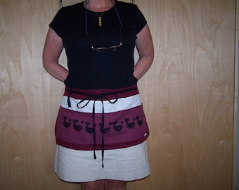 Linen Cafe Apron, Half Apron, Handpainted Linen, Whales Stamp Prints, 6 pocket apron,
