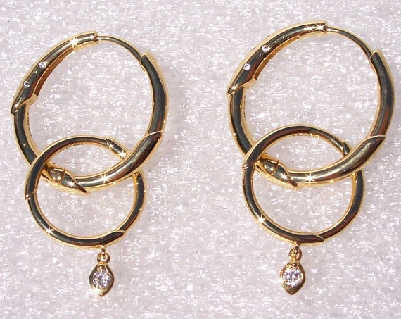 Flower Stem, Hoop Earrings, Pandora Shine, Radiant, Multiple Ways, 18K Gold Plated, Over Silver, Embellished, Dangle, Clear CZ, Fashionista