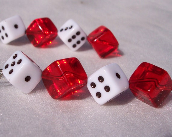 Roll The Dice, Vintage Earrings, Red Lucite, Costume, Gamble, Dangle,Pierced,Body Jewelry,Mod,High Fashion,Las Vegas,Good Luck,Take A Chance