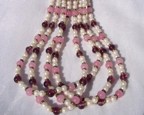 Designer Necklace, Sandra David, 4 Strands, Purple, Pink, Champagne, Glass Beads, Vintage Jewelry, Hallmarked, High Fashion, Dress, Textured
