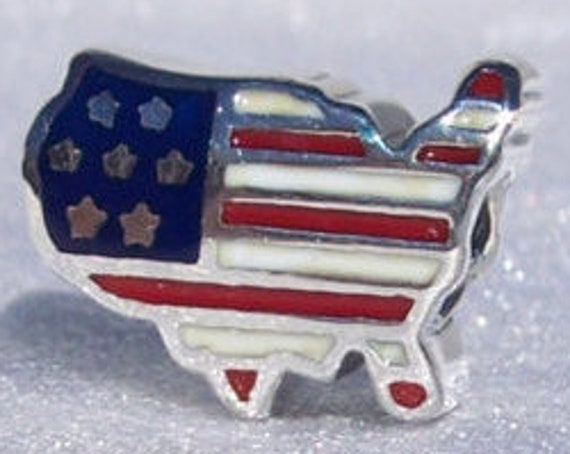 USA, Land Of The Free, Pandora, Patriotic, Enamel, Third Largest Country, Enamel, Red White Blue, 4TH of July, Bracelet Charm, 925