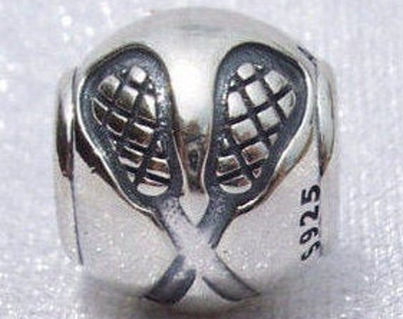 Lacrosse, Pandora, Bracelet Charm,Team Game, RETIRED, Ball, Goal, Stick, Silver, Passion, Sports, Athletic, Athlete, Score, Fans