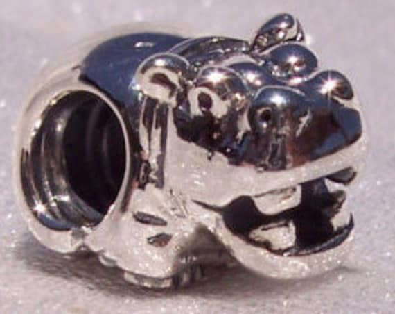 Hippo Charm, Pandora, Bracelet Beads, African Theme, Hungry Hippo, Sterling Silver, RETIRED, Animal, Travel Memories, Rare, Crafting Jewelry