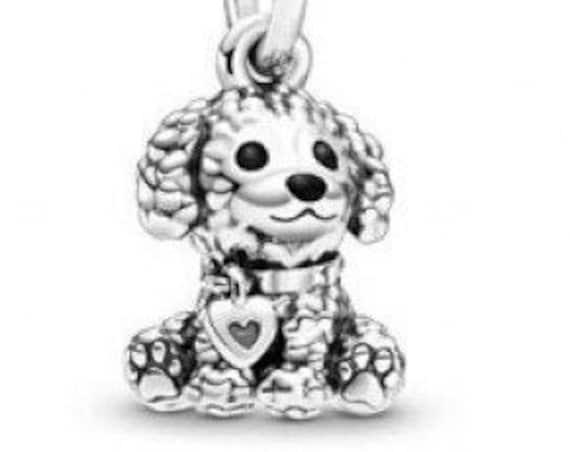 Poodle Puppy Charm, Pandora, Bracelet Bead, Heart Tag, 925, Animals, Furry Friend, Family Member, Dog, Mans Best Friend, Beaded Fur, LOVE