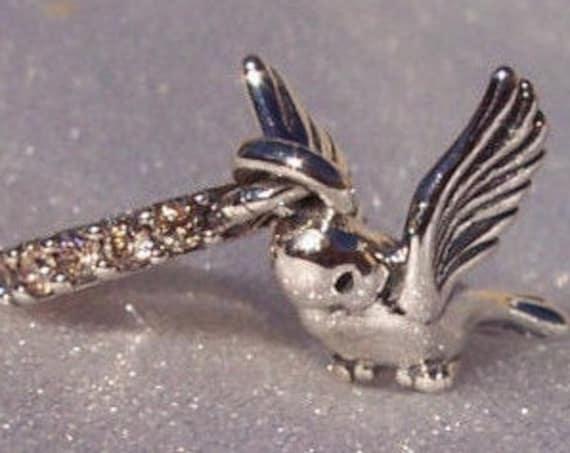 Dove Of Peace Charm, Pandora, Bracelet Charm, RETIRED, Love, Peace, Mother Figures, 925, Pure Spirit, Champagne CZ, Animal, Bird, Gentleness