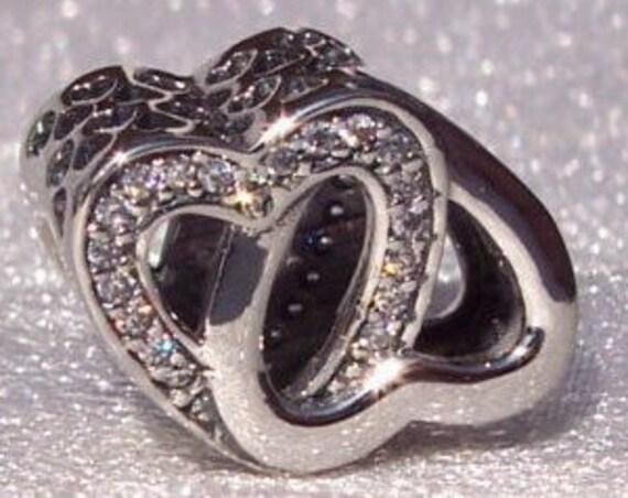 Entwined Love, Pandora, Bracelet Charm, Friendship, Love, Wife, Girlfriend, Interlocked, Heart Cutouts, Sterling Silver, Clear CZ, Slider