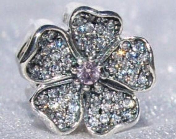 Sparkling, Apple Blossom, Pandora, Bracelet Charm, Elegance, Floral, Delicate, Silver, Blush Pink Crystal, Peace, Fertility, Clear CZ, Love