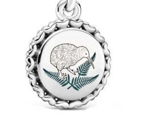 KIWI Bird Charm, Pandora, New Zealand, Australia Exclusive,Native,Green Enamel Fern,Dangle,Uniqueness,Treasure To Maori,Historic,Culture,925