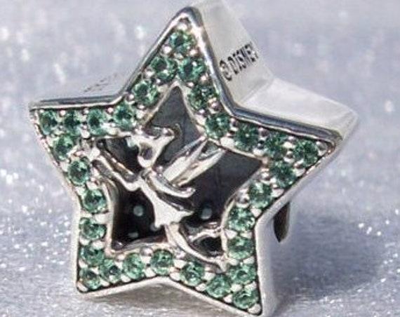 Tinker Bell Star, Pandora Disney, Bracelet Charm, Magical Fairy Dust, Glittering, Touch Of Luck, Dazzling, Slider, Green CZ, Sterling Silver