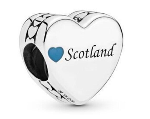 Scotland Love Heart, Pandora, UK, Bracelet Charm, Blue Enamel, Destination, Travel, 925, Vacation, Memories, Kilts, Bagpipes
