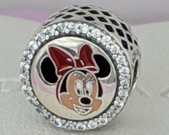 Minnie, Mistletoe Kisses, Pandora Disney World, Resort Exclusive, Mickey Mouse, Bracelet Charm, Enamel, 925, CZ, Slider, Happy Holidays