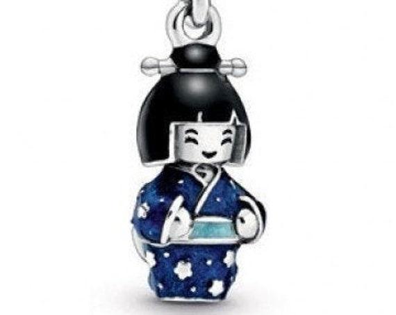 Japanese Doll Charm, Blue Kimono, Pandora, Geisha, Bracelet Bead, Feminine Power, Intrigue, Blue Crystal,Enameled,Travel,Culture,925, Dangle