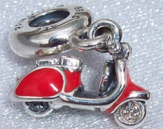Red Scooter, Pandora, WASP, Bracelet Charm, 925, RETIRED, Red Enamel, Clear CZ, Vespa, Paris, Travel Memories, Italy, Piaggio, Friends, Food
