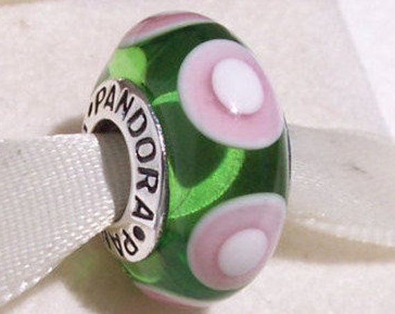 Green, Stepping Stones, Pandora Charm, Retired, Murano Glass, Sterling Silver