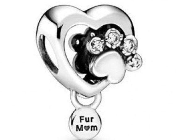 Paw Print Charm, Sparkling Heart, Pandora, Fur MOM, Bracelet Bead, Heart Paw Print, 925, Clear CZ, Animals, Furry Family Members, Dog, Cat