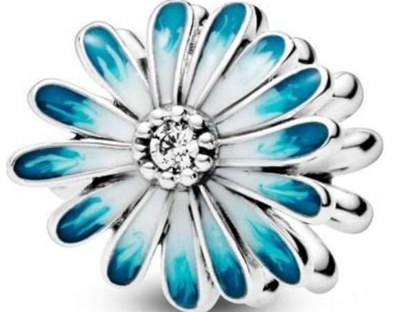 Blue Daisy Charm, Flower,Pandora, Feminine,Floral, Enameled, Clear CZ,Chubby,Resilient, Freedom,Petals,Springtime,Double Sided,Spring Beads,
