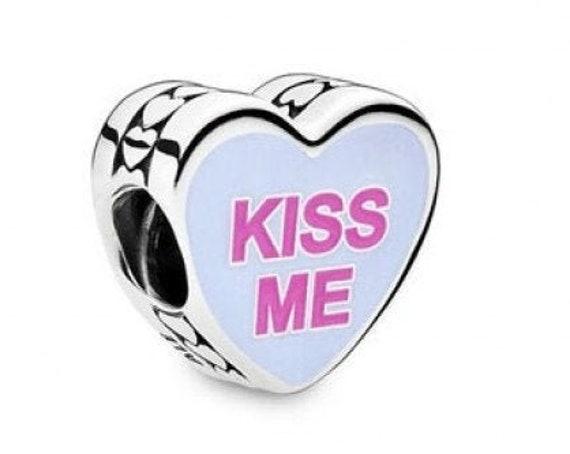 SWEETHEART Charm, Pandora, Candy Hearts Bead, 925, 2020, KISS ME, Valentine, Cerise, Enamel, Hug and Kisses, Lustrous, Playful Edge, Pastel