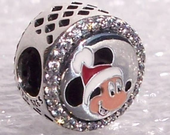 Mickey, Happy Holidays, Pandora Disney World, Resort Exclusive, Minnie Mouse, Bracelet Charm, Enamel, 925, Clear CZ, Slider, Mickey Santa,