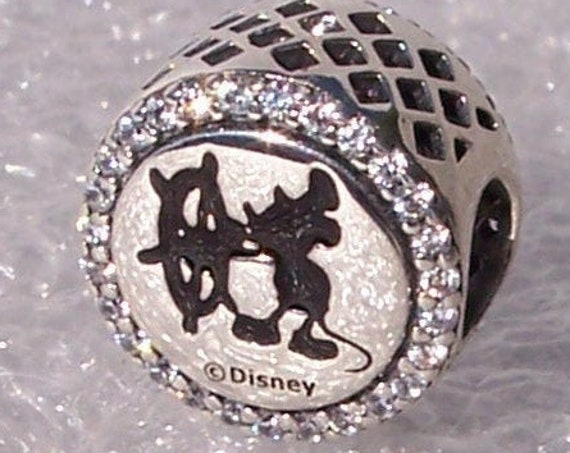 Steamboat Willie, Pandora, Disney Parks, Sailor Mickey Mouse, Cruise Line Logo, Collection, Bracelet Charm, Exclusive, Silver, CZ. 2018