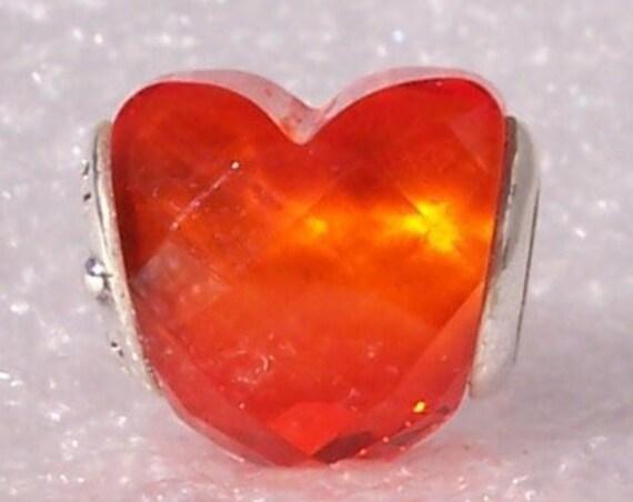 Shape Of Love, Orange CZ, Pandora, Bracelet Charm, Bright Orange Hue, Faceted Heart, Sterling Silver, Autumn, Halloween, Fall, 2018
