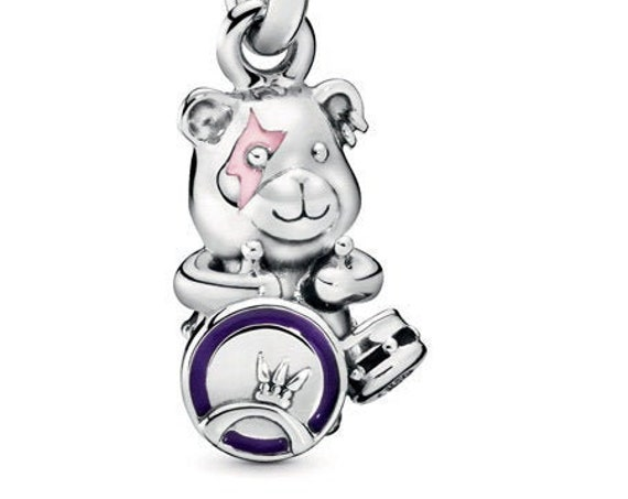 Punk Band, Theodore Bear, Pandora, Bracelet Charm, Piercing, Drums, Lightening Bolt Tattoo, Music Fan, Jam session, 925, Enamel, Emblem