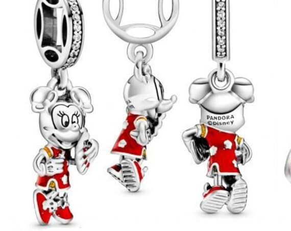Minnie Mouse, Chinese New Year, Pandora Disney, Shimmering, RED Enamel, Qipao, Extra Good Luck, Icon, Fortune Coin, Mickey Mouse, 925, CZ
