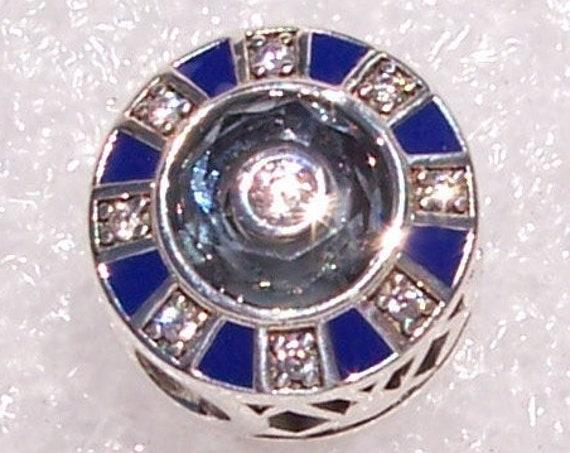 Mosaic Charm, Pandora, Bracelet, Faceted Crystal, Mesmerizing, Button Slider, Clear CZ, Enamel, Cutout Hearts, Symbol, Pattern, Silver