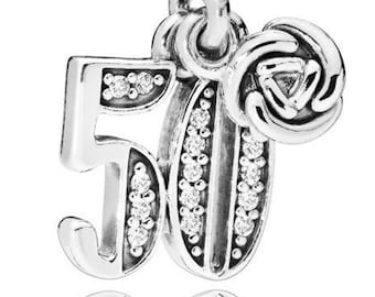 d8ba5b191 PANDORA, Charms, 50 Years Of Love, Bracelet Charm, Dangle, Milestone, Clear  CZ, Rosebud, Moment, Sterling Silver, 925 ALE, 797264CZ