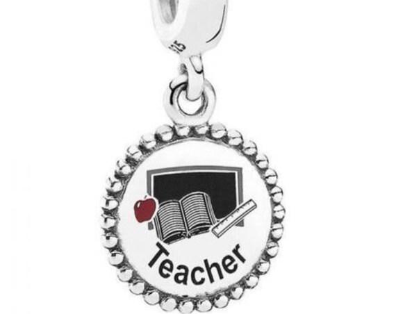 TEACHER, Pandora, Bracelet Charm, Silver, Enamel, Dedicated, Passionate, Red Apple, Books, Study, Tutor, Instructor, Knowledge, Insight