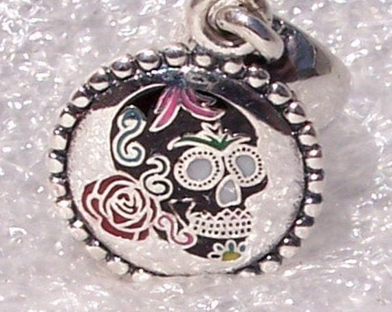Sugar Skull, Calavera, Pandora, Dangle, RARE, EXCLUSIVE, LE, Bracelet Charm, Icon, Mexican Holiday, Enamel, Silver, Aztec Mayan Ruins