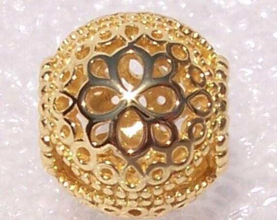Openwork Flower, Pandora SHINE, Bracelet Charm, 18K Gold Plated, Dramatic, Filigree, Slider, Dimension, Texture, Radiant, 925 Silver