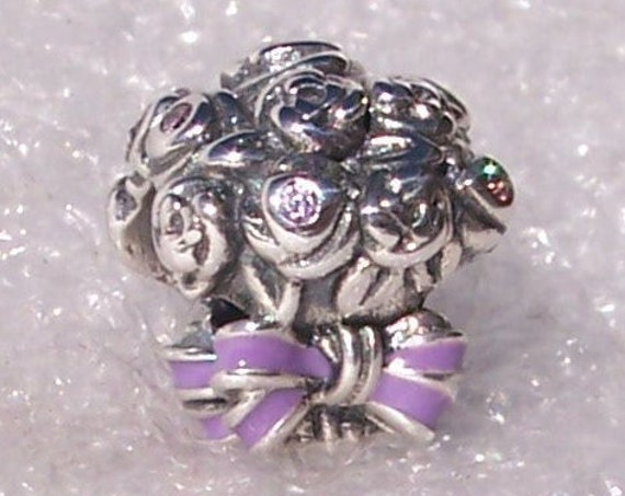 Celebration Bouquet, Pandora, Bracelet Charm, Lilac, Crafted Roses, Pink Crystal, Purple Enamel, Sterling Silver, Wedding, Floral, Prom