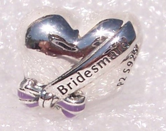 Best Bridesmaids, Pandora, Bracelet Charm, Transparent Purple, Enamel, Engraving, Sterling Silver, Wedding, Single, Maid Of Honor, Marriage