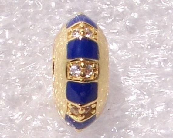 Exotic Stones, and Stripes, Pandora Spacer, Bracelet Charm, SHINE, Stackable, 18k Gold Plated, Blue Enamel, CZ, Elegant, Slider, Sparkling
