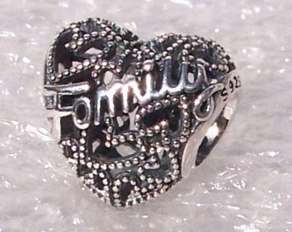 Family Heart, Pandora, Bracelet Charm, 925, Love, Forever, Bond, Openwork, Sister, Mom, Aunts, Nieces, Granddaughter, Slider